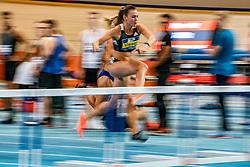 Nadine Visser in action on 60 meter hurdles during the Dutch Indoor Athletics Championship on February 23, 2020 in Omnisport De Voorwaarts, Apeldoorn