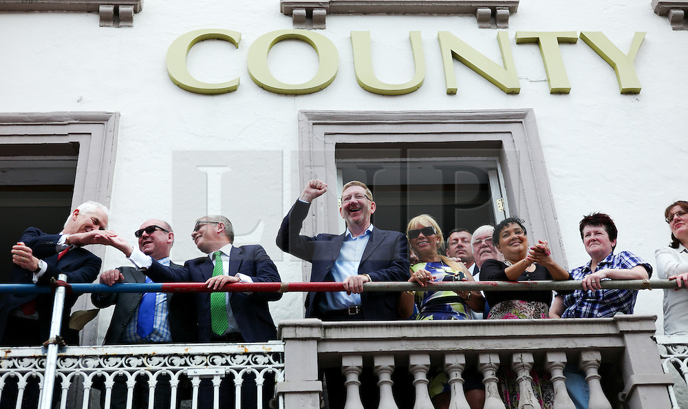 """© Licensed to London News Pictures. 13/07/2013<br /> <br /> Durham City, England, United Kingdom<br /> <br /> General Secretary of the Unite union, Len McCluskey gestures during the Durham Miners Gala.<br /> <br /> The Durham Miners' Gala is a large annual gathering held each year in the city of Durham. It is associated with the coal mining heritage of the Durham Coalfield, which stretched throughout the traditional County of Durham, and also gives voice to miners' trade unionism. <br /> <br /> Locally called """"The Big Meeting"""" or """"Durham Big Meeting"""" it consists of banners, each typically accompanied by a brass band, which are marched to the old Racecourse, where political speeches are delivered. In the afternoon a Miners' service is held in Durham Cathedral <br /> <br /> Photo credit : Ian Forsyth/LNP"""
