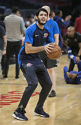 October 19, 2018 - Los Angeles, California, U.S - Alex Abrines #8 of the Oklahoma Thunder warms up prior to their NBA game with the Los Angeles Clippers  on Friday October 19, 2018 at the Staples Center in Los Angeles, California. Clippers defeat Thunder, 108-92. (Credit Image: © Prensa Internacional via ZUMA Wire)
