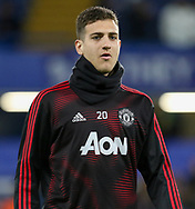Manchester United Defender Diogo Dalot warm up during the The FA Cup 5th round match between Chelsea and Manchester United at Stamford Bridge, London, England on 18 February 2019.