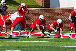 NORMAL, IL - August 14:  Bryce Jefferson, Nigel White, Drew Bones, Peter Bussone during a college football pre-season scrimmage of the  ISU (Illinois State University) Redbirds August 14 2021 at Hancock Stadium in Normal, IL. (Photo by Alan Look)