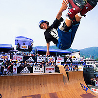 Eito Yasutoko, pro in line skater, in competition at the X Games, Phuket, Thailand