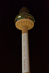 LIVERPOOL, ENGLAND - Tuesday, April 26, 2016: Radio City illuminate the number 96 on their logo at St. John's Beacon and list the names of the victims, here Paul David Brady, in tribute those who lost their lives in the Hillsborough Disaster on the 15 April 1989. This is to mark the verdicts in the two year inquest that returned a verdict of Unlawful Killing. (Pic by David Rawcliffe/Propaganda)