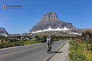 Road cycling at Logan Pass in Glacier National Park, Montana, USA