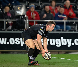 Ospreys' Tom Habberfield touches down only for it to be ruled out<br /> <br /> Photographer Simon King/Replay Images<br /> <br /> Guinness PRO14 Round 19 - Ospreys v Connacht - Friday 6th April 2018 - Liberty Stadium - Swansea<br /> <br /> World Copyright © Replay Images . All rights reserved. info@replayimages.co.uk - http://replayimages.co.uk