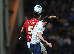 Luke Ayling of Bristol City challenges for the header with Greg Cunningham of Preston North End - Mandatory byline: Dougie Allward/JMP - 07966386802 - 15/09/2015 - FOOTBALL - Deepdale Stadium -Preston,England - Bristol City v Preston North End - Sky Bet Championship