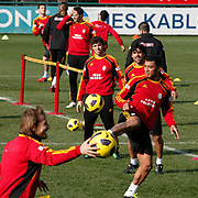 Galatasaray's players Juan Emmanuel CULIO (C) and Colin Kazim RICHARDS (R), Emiliano INSUA (B) during their training session at the Jupp Derwall training center, Thursday, January 20, 2011. Photo by TURKPIX
