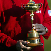 USA captain Curtis Strange holds the Ryder Cup
