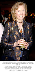 CAROLINE, COUNTESS DE CABARRUS sister of the Duke of Northumberland, at a lectrure in London on 13th May 2002.	OZX 68