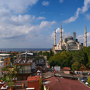 Panorama of Bosphorus and The Blue Mosque in Istanbul, Turkey