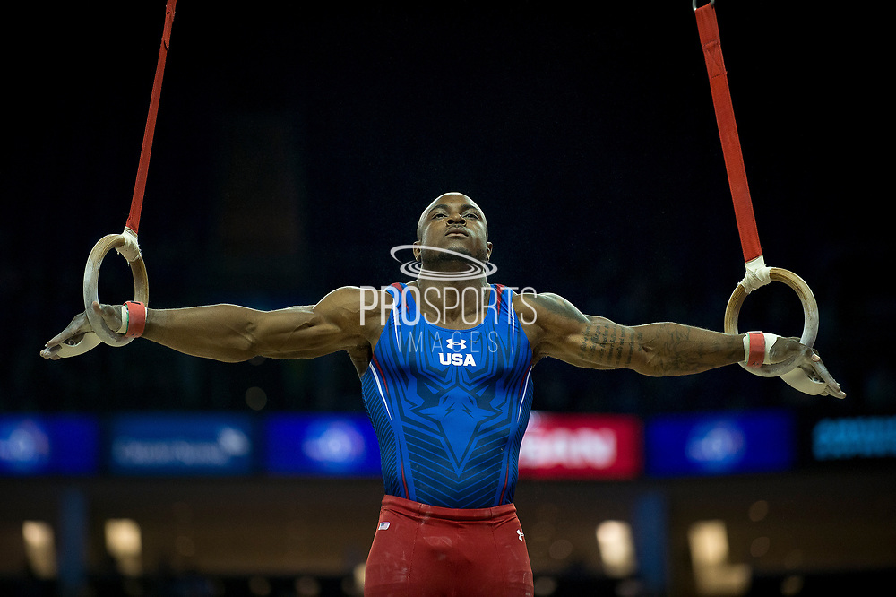 Donnell Whittenburg of the United States of America (USA) on the Rings on his way to a Silver Medal at the iPro Sport World Cup of Gymnastics 2017 at the O2 Arena, London, United Kingdom on 8 April 2017. Photo by Martin Cole.