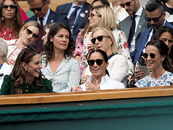 July 13, 2019 - London, England - LONDON, ENGLAND - JULY 13:  Catherine, Duchess of Cambridge and Meghan, Duchess of Sussex, Pippa Middleton  attend the Women's Singles Final of the Wimbledon Tennis Championships at All England Lawn Tennis and Croquet Club on July 13, 2019 in London, England...People:  Catherine, Duchess of Cambridge and Meghan, Duchess of Sussex, Pippa Middleton. (Credit Image: © SMG via ZUMA Wire)