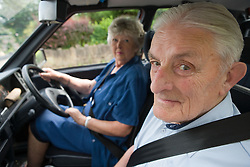 Older woman driving a car,