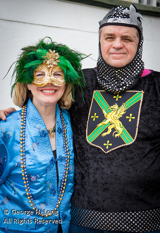 Peggy Scott Laborde and Errol Laborde at Mardi Gras in Faubourg Marigny of New Orleans, Louisiana