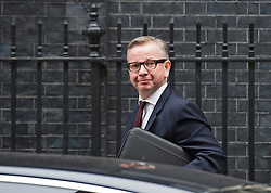 © London News Pictures. 09/06/2014. London, UK. Secretary of State for Education MICHAEL GOVE arriving at 10 Downing Street in London to meet with British Prime Minister David Cameron and Home Secretary Theresa May, to discuss the alleged extremist 'takeovers' of schools in Birmingham. The meeting takes place on the same day that Ofsted release a report in to Schools at centre of 'Trojan Horse' plot. Photo credit : Ben Cawthra/LNP
