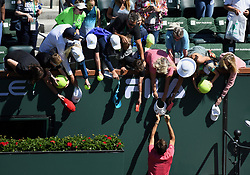 March 15, 2019 - Indian Wells, CA, U.S. - INDIAN WELLS, CA - MARCH 15: Roger Federer (SUI) signs autographs after defeating Hubert Hurkacz (POL) in straight sets of a quarterfinals match played during the BNP Paribas Open on March 15, 2019 at the Indian Wells Tennis Garden in Indian Wells, CA. (Photo by John Cordes/Icon Sportswire) (Credit Image: © John Cordes/Icon SMI via ZUMA Press)