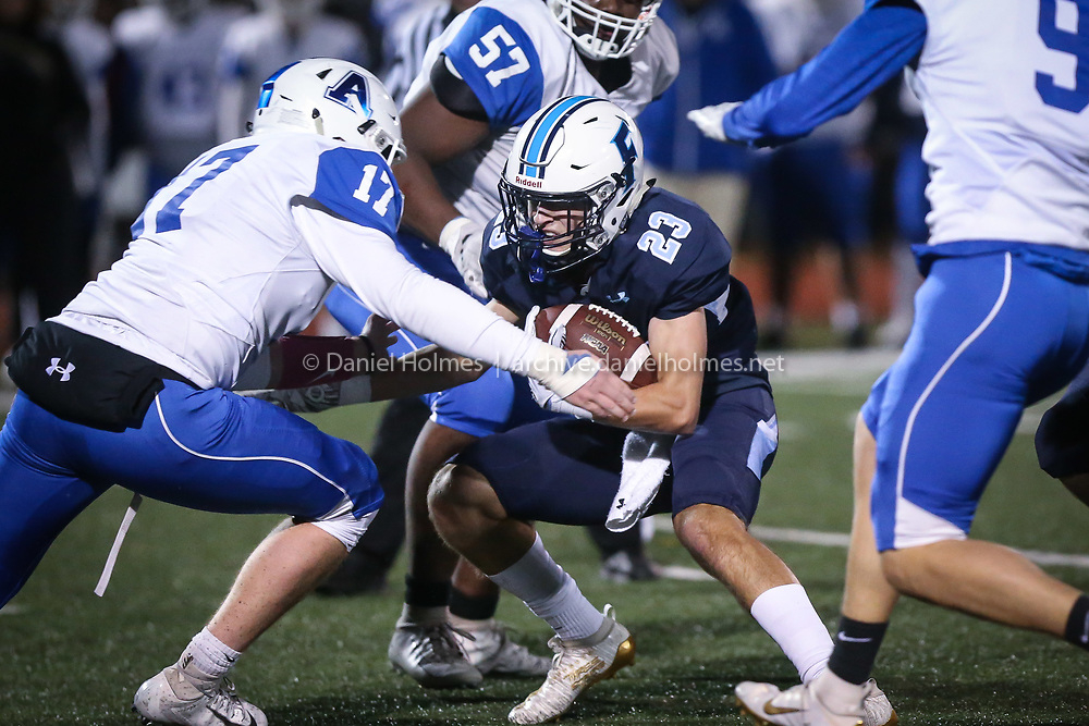 (11/1/19, FRANKLIN, MA) Franklin's Jake Davis runs the ball up the middle during the quarterfinals of the Division 1 South playoffs against Attleboro at Franklin High School in Franklin on Friday. [Daily News and Wicked Local Photo/Dan Holmes]