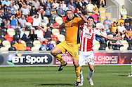 Jon Parkin of Newport county (9) shrugs off Cheltenham's Daniel O'Shaughnessy (24) before scoring his teams 2ND goal to equalise at 2-2.  EFL Skybet football league two match, Newport county v Cheltenham Town at Rodney Parade in Newport, South Wales on Saturday 10th September 2016.<br /> pic by Andrew Orchard, Andrew Orchard sports photography.