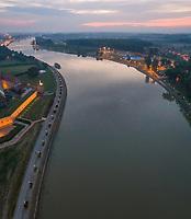 Aerial view of Drava river in Osijek at sunset, Croatia.