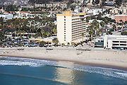 Ventura Beach and Crowne Plaza Hotel Aerial Stock Photo