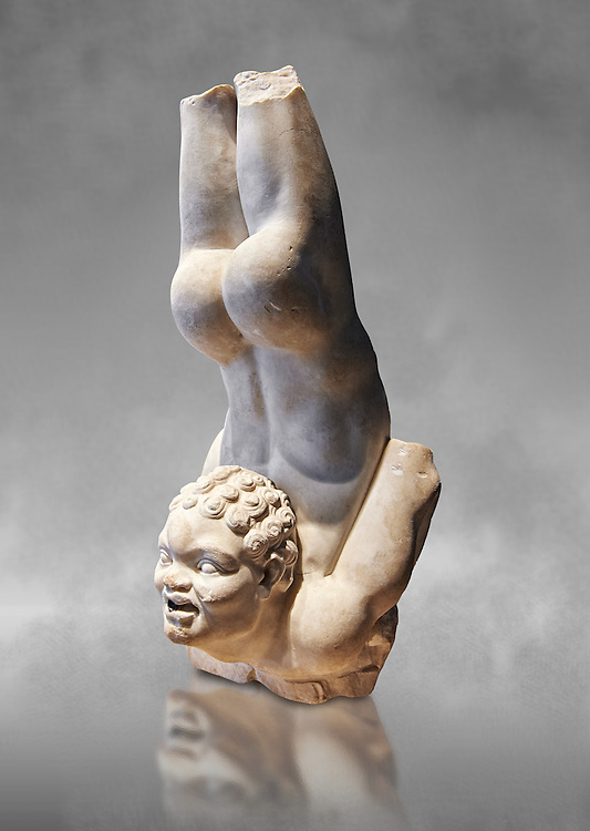 Roman statue of an African Acrobat from early Imperial period excavated from the Villa Patrizi, via Nomentana, Rome, Italy. A young African performs an acrobatic trick very similar to those performed by tribal members from an area of the Nile, the Tentyitae (described by Pliny in Naturalis Historia), where skilled divers dive into the water from the backs of crocodiles. The work is based on a hellenistic original and here has beed adapted for the Roman period as a fountain decoration. The hole in the acrobats mouth is a water spout.  Inv 40009, The National Roman Museum, Rome, Italy  The National Roman Museum, Rome, Italy .<br /> <br /> If you prefer to buy from our ALAMY PHOTO LIBRARY  Collection visit : https://www.alamy.com/portfolio/paul-williams-funkystock/roman-museum-rome-sculpture.html<br /> <br /> Visit our ROMAN ART & HISTORIC SITES PHOTO COLLECTIONS for more photos to download or buy as wall art prints https://funkystock.photoshelter.com/gallery-collection/The-Romans-Art-Artefacts-Antiquities-Historic-Sites-Pictures-Images/C0000r2uLJJo9_s0