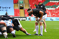 Gloucester Rugby warm up during the Gallagher Premiership Rugby match between Leicester Tigers and Gloucester Rugby at Welford Road Stadium, Leicester, United Kingdom on 21 November 2020.