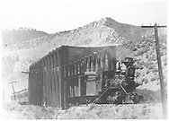 """D&RG class 60 locomotive crosses a wooden through-truss bridge over the Uncompahgre River with a long passenger train.<br /> D&RG  Ouray Branch, CO  <br /> In book """"Colorado Rail Annual 1973 No. 11: """"Train Time in Ouray"""""""" page 155"""