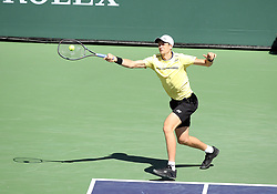 March 15, 2019 - Indian Wells, CA, U.S. - INDIAN WELLS, CA - MARCH 15: Hubert Hurkacz (POL) hits a forehand during the quarterfinals of the BNP Paribas Open on March 15, 2019, at the Indian Wells Tennis Gardens in Indian Wells, CA. (Photo by Adam Davis/Icon Sportswire) (Credit Image: © Adam Davis/Icon SMI via ZUMA Press)