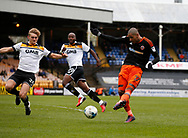 Leon Clarke of Sheffield Utd takes a shot on goal during the English League One match at Vale Park Stadium, Port Vale. Picture date: April 14th 2017. Pic credit should read: Simon Bellis/Sportimage