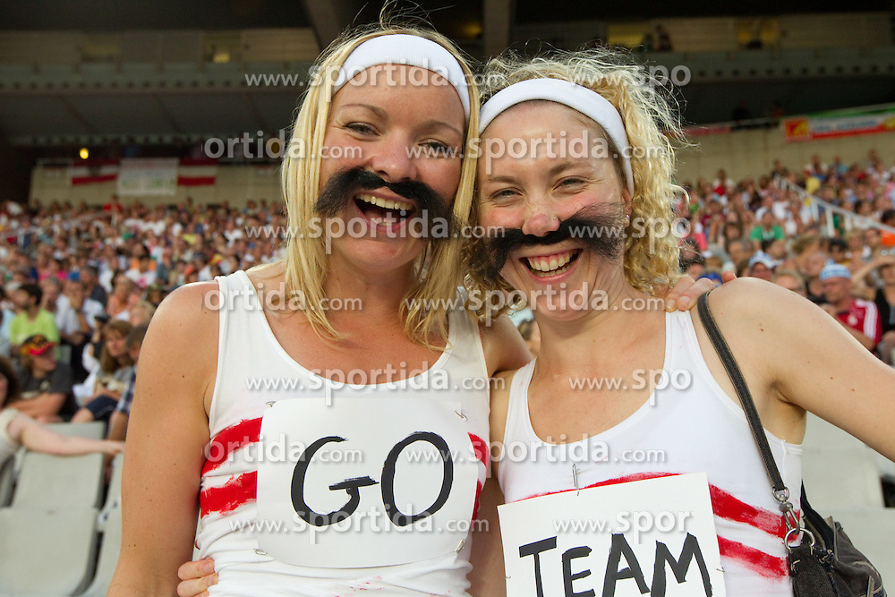 Great Britain's fans at the 2010 European Athletics Championships at the Olympic Stadium in Barcelona on July 31, 2010.(Photo by Vid Ponikvar / Sportida)