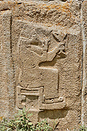 Pictures & Images Hittite relief sculpted orthostat panels of the Sphinx Gate. Panel depicts a lion god. Alaca Hoyuk (Alacahoyuk) Hittite archaeological site  Alaca, Çorum Province, Turkey, Also known as Alacahüyük, Aladja-Hoyuk, Euyuk, or Evuk .<br /> <br /> If you prefer to buy from our ALAMY PHOTO LIBRARY  Collection visit : https://www.alamy.com/portfolio/paul-williams-funkystock/alaca-hoyuk-hittite-site.html<br /> <br /> Visit our TURKEY PHOTO COLLECTIONS for more photos to download or buy as wall art prints https://funkystock.photoshelter.com/gallery-collection/3f-Pictures-of-Turkey-Turkey-Photos-Images-Fotos/C0000U.hJWkZxAbg