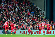 01.09.2017. Copenhagen, Denmark. <br /> Nicolai Jorgensen (9) of Denmark celebrates scoring the third goal during the FIFA 2018 World Cup Qualifier between Denmark and Poland at Parken Stadion.<br /> Photo: © Ricardo Ramirez.