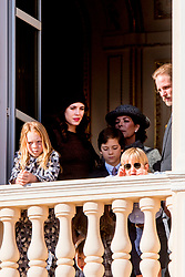 Andrea Casiraghi, Tatiana Santo Domingo and their daughter India, their son Sacha Princess Caroline at the balcony of the royal palace during the National Day celebrations in Monaco, on November 19, 2017. Photo by Robin Utrecht/ABACAPRESS.COM