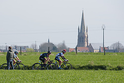 Ashleigh Moolman Pasio and Barbara Guarischi leads the peloton on the first lap around Boezinge at Women's Gent Wevelgem 2017. A 145 km road race on March 26th 2017, from Boezinge to Wevelgem, Belgium. (Photo by Sean Robinson/Velofocus)