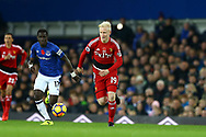 Will Hughes  of Watford makes a break. Premier league match, Everton vs Watford at Goodison Park in Liverpool, Merseyside on Sunday 5th November 2017.<br /> pic by Chris Stading, Andrew Orchard sports photography.