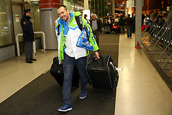 Mitja Valencic at reception of Slovenia team arrived from Winter Olympic Games Sochi 2014 on February 24, 2014 at Airport Joze Pucnik, Brnik, Slovenia. Photo by Vid Ponikvar / Sportida