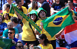 Brazil fans show their support in the stands