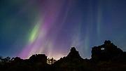 Northern Lights over Dimmuborgir, north Iceland