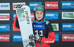 Schoeffmann Sabine during trophy ceremony after the woman's Snowboard giant slalom of the FIS Snowboard World Cup 2017/18 in Rogla, Slovenia, on January 21, 2018. Photo by Urban Meglic / Sportida