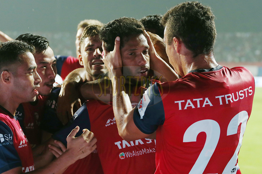 Michael Soosairaj of Jamshedpur FC celebrates scoring  during match 25 of the Hero Indian Super League 2018 ( ISL ) between Jamshedpur FC and FC Goa held at JRD Tata Sports Complex, Jamshedpur, India on the 1st November  2018<br /> <br /> Photo by: Ron Gaunt /SPORTZPICS for ISL