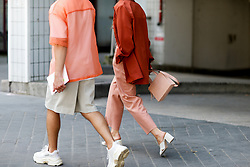 Street style, JS Roques and Alice Barbier arriving at Acne Spring-Summer 2019 menswear show held at Bercy Popb, in Paris, France, on June 20th, 2018. Photo by Marie-Paola Bertrand-Hillion/ABACAPRESS.COM