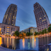 City Hall on left and Oak Tower at right in downtown Kansas City, Missouri.