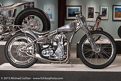 """Jeremy Cupp's Buell/Ducati/Triumph hybrid in Michael Lichter's annual Motorcycles as Art Show """"Naked Truth"""" at the Buffalo Chip during the 75th Annual Sturgis Black Hills Motorcycle Rally.  SD, USA.  August 6, 2015.  Photography ©2015 Michael Lichter."""