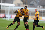 Joss Labadie of Newport county (l) celebrates with teammates David Pipe ® and Ben Tozer  (12) after he scores his teams 2nd goal. EFL Skybet football league two match, Newport county v Yeovil Town at Rodney Parade in Newport, South Wales on Saturday 7th October 2017.<br /> pic by Andrew Orchard,  Andrew Orchard sports photography.