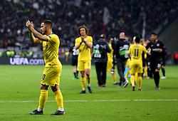 Chelsea's Eden Hazard (left) applauds the fans at the end of the UEFA Europa League Semi final, first leg match at The Frankfurt Stadion, Frankfurt.