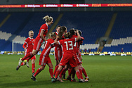 Wales women players celebrate their goal scored by Hayley Ladd (r in group). Wales Women v Kazakhstan Women, 2019 World Cup qualifier match at the Cardiff City Stadium in Cardiff , South Wales on Friday 24th November 2017.    pic by Andrew Orchard