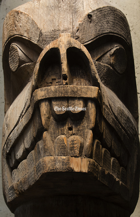 Totem poles made by Haida artists and other First Nations carvers are on display in the Great Room at the Museum of Anthropology. The museum is on the UBC campus in Vancouver. (Ellen M. Banner/The Seattle Times)