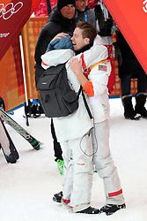 February 14, 2018 - PyeongChang, South Korea - SHAUN WHITE of USA celebrates winning a gold medal with girlfriend SARAH BARTHEL in Snowboard Men's Halfpipe Final at Phoenix Snow Park during the 2018 Pyeongchang Winter Olympic Games. (Credit Image: © Scott Mc Kiernan via ZUMA Wire)