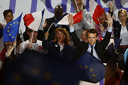 April 26, 2017 - Arras, France - French presidential election candidate for the En Marche ! movement, EMMANUEL MACRON (C) reacts during a campaign rally, as he campaigns ahead of the run-off of the French presidential election. (Credit Image: © Mehdi Taamallah/NurPhoto via ZUMA Press)
