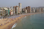 High rise apartment buildings and hotels seafront, Playa Levante sandy beach, Benidorm, Alicante province, Spainn